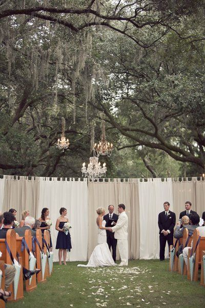 LOVE this! The curtains, chandeliers and pews all combine to create a grand outdoor affair.: Outdoor Wedding, Ideas, Pipes And Draping, Outdoor Ceremony, Chandelier, Backdrops, Lace Curtains, Trees, Receptions Area