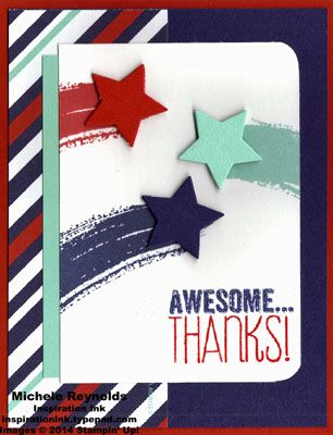 Handmade thank you card by Michele Reynolds, Inspiration Ink, using Stampin' Up! products - Work of Art Set, Yippee-Skippee! Set, Maritime Designer Series Paper, Project Life Corner Punch, and Stars Framelits.