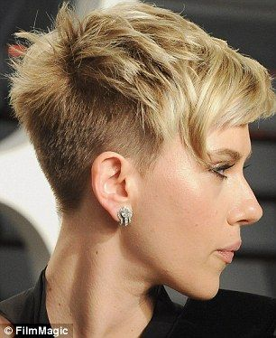 Spike it cool: Scarlett Johansson, 32, showed off the cool texture of her short cut at the...