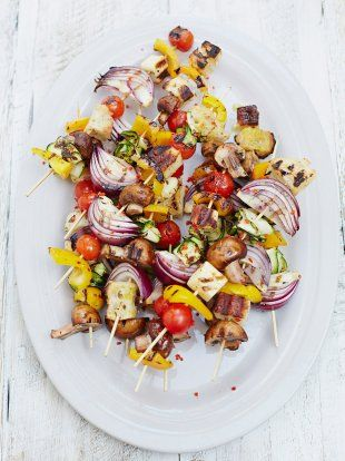 Chargrilled veg kebabs | Jamie Oliver