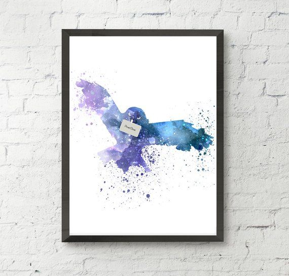 Hedwig Harry Potter Art Print Watercolor Owl Hedwig Art Owl