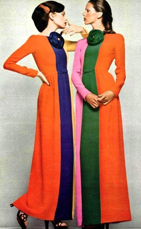 Models wearing tri-colour robes by Lanvin, 1972                                                                                                                                                      Plus