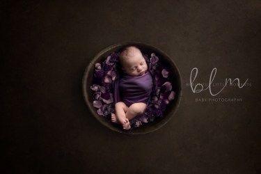 newborn-boy-brown-purple-bowl-flowers