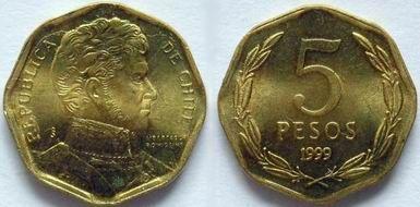 """Novo Peso chileno (1975-em uso) (x) 5 pesos (1992-2013) O: efígie de Bernardo O'Higgins (1778-1842, primeiro chefe de Estado do Chile independente de 1817-1823) e em espanhol """"República de Chile"""" e o nome do personagem/R: valor em folhas de louro;"""