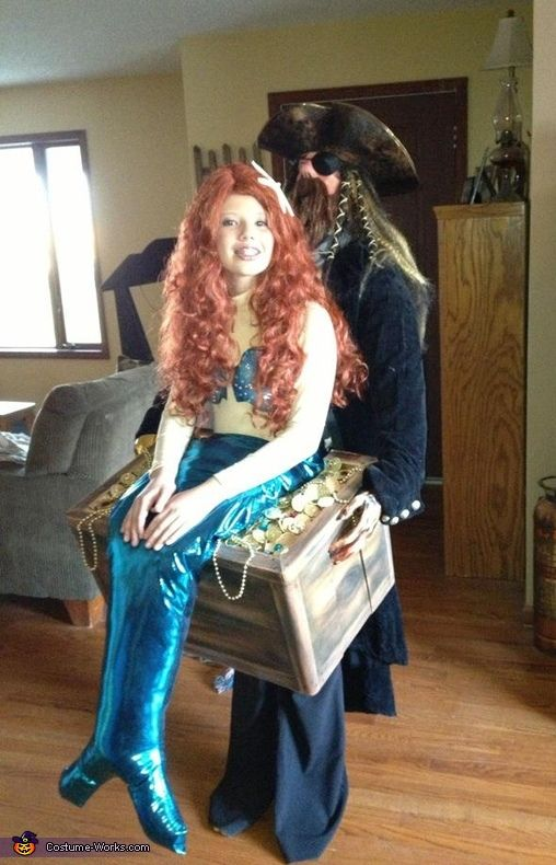 mermaid in pirates treasure chest halloween costume contest - Homemade Halloween