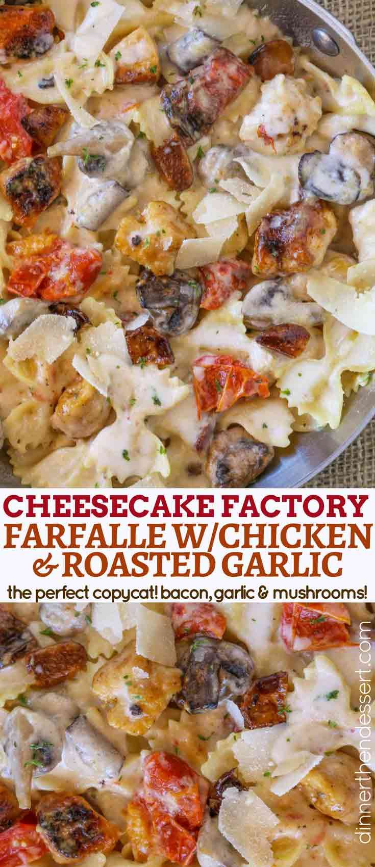 The Cheesecake Factory Farfalle with Chicken and Roasted Garlic is a perfect copycat of my favorite creamy, cheesy bacon and mushroom pasta dish and one of the most popular recipes on the menu!