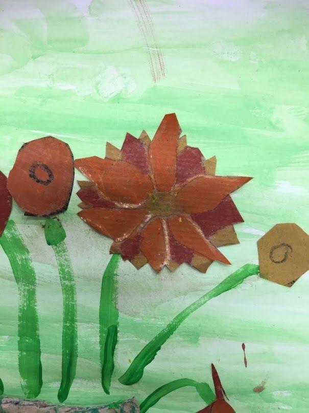 GIRASOLS VAN GOGH (detall)  - Material: paper, cartró, tisores, cola, pintura, colors - Nivell: 2PRIM CI 2015/16 Escola Pia Balmes