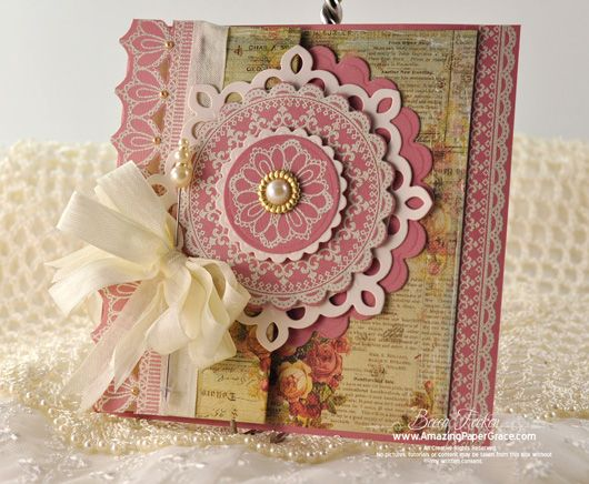 card designed by Becca Feeken using JustRite Grandma's Doilies, Lace Borders and Old Friends