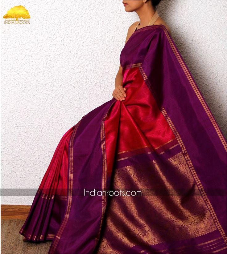 Pink and Purple handwoven kanjivaram saree by Vimor on Indianroots.com