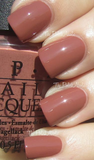 OPI: Chocolate Moose. I think this would look good against my skin. Hmm...