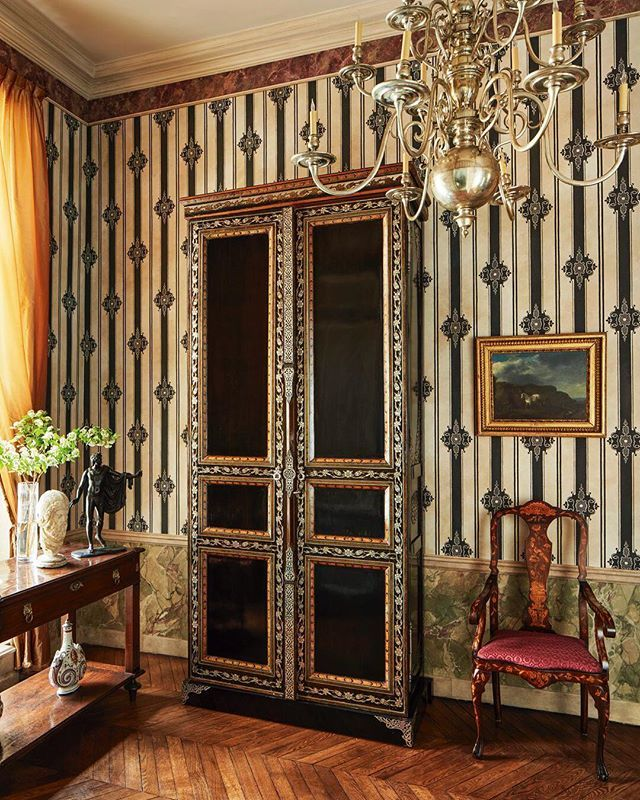 In The Entry Hall Of A Paris Pièd A Terre The Armoire With Silver Plated  Metal Decorations And The Silver Plated Bronze Chandelier Are Both 19th Ceu2026