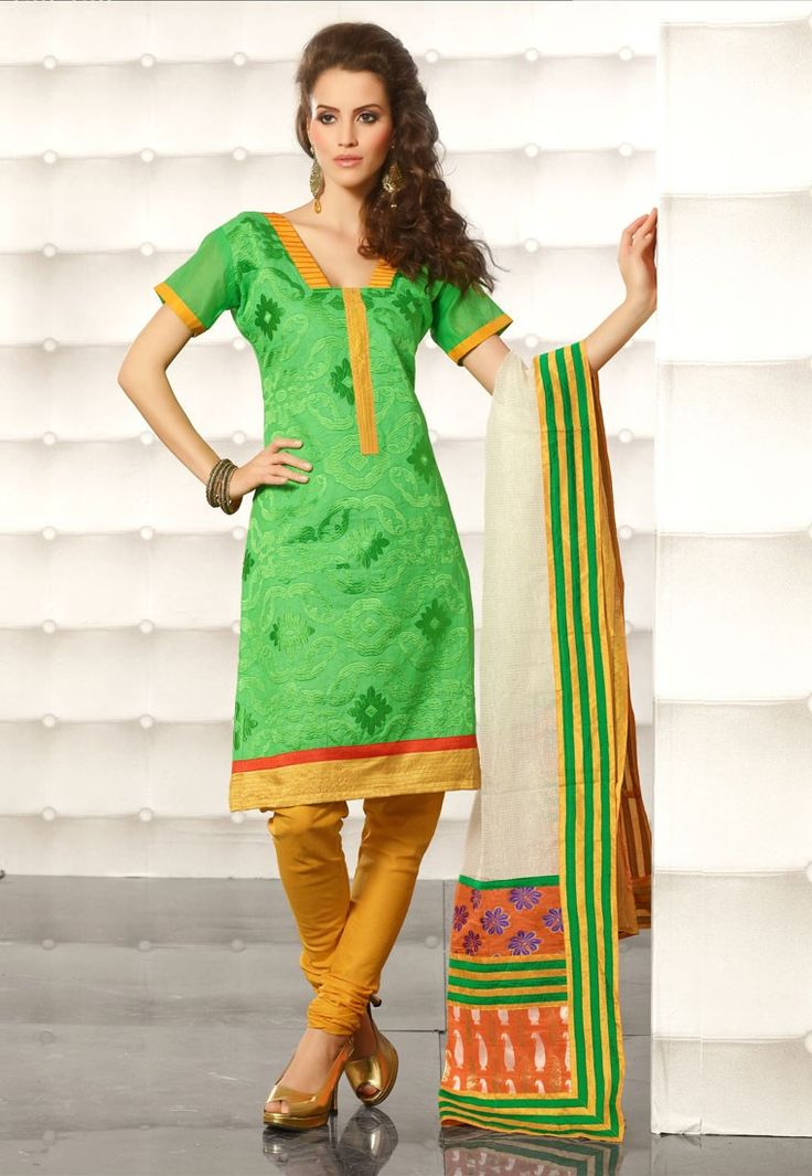 """The meek may inherit the #earth, but at the moment it belongs to the conceited. Like me."" Green #Color Cotton Designer #Salwaar Kameez"