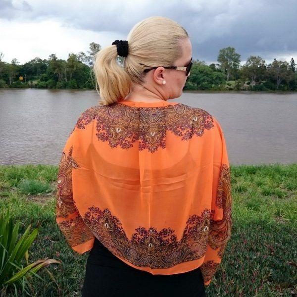 Orange Chiffon Bolero Shrug Gold Paisley Border
