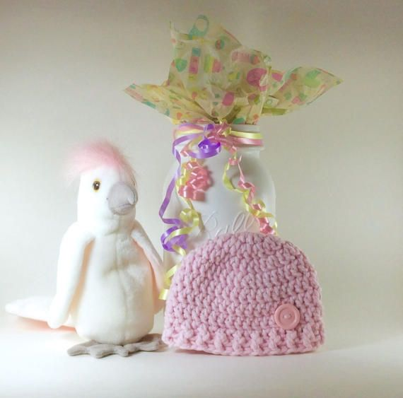 Crochet Baby Girl Preemie Hat This cute soft warm preemie girl hospital cuddle cap outfit will make a great gift for the expecting Mom to be. Your crochet preemie hat for your 3- 5 pound premature baby girl will give you memorable photos to cherish while she was in the nicu. Add hat to your hospital suitcase so you can have a variety of hats for your family pictures. Listing is for item only. Props are not Included. Soft Baby Yarn 50 cotton 50 acrylic READY TO SHIP Hat measures 4 inches t...