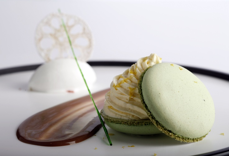Macaroon & white chocolate mousse  - Pandan Macaroon & Yuzu flavoured white chocolate mousse with lemongrass & coconut sorbet, and milk chocolate sauce