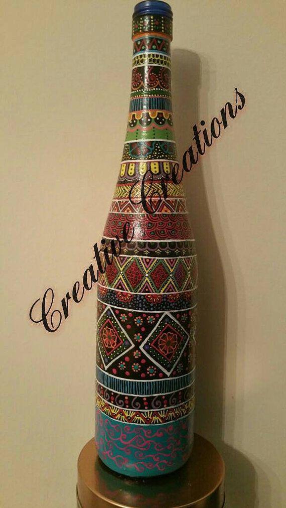 Botella de vino de pintado a mano