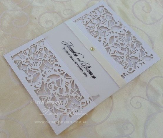 Laser cut wedding Invitation x24 pocket invitations vintage lace pattern design, lasercut invitations with rsvpcards