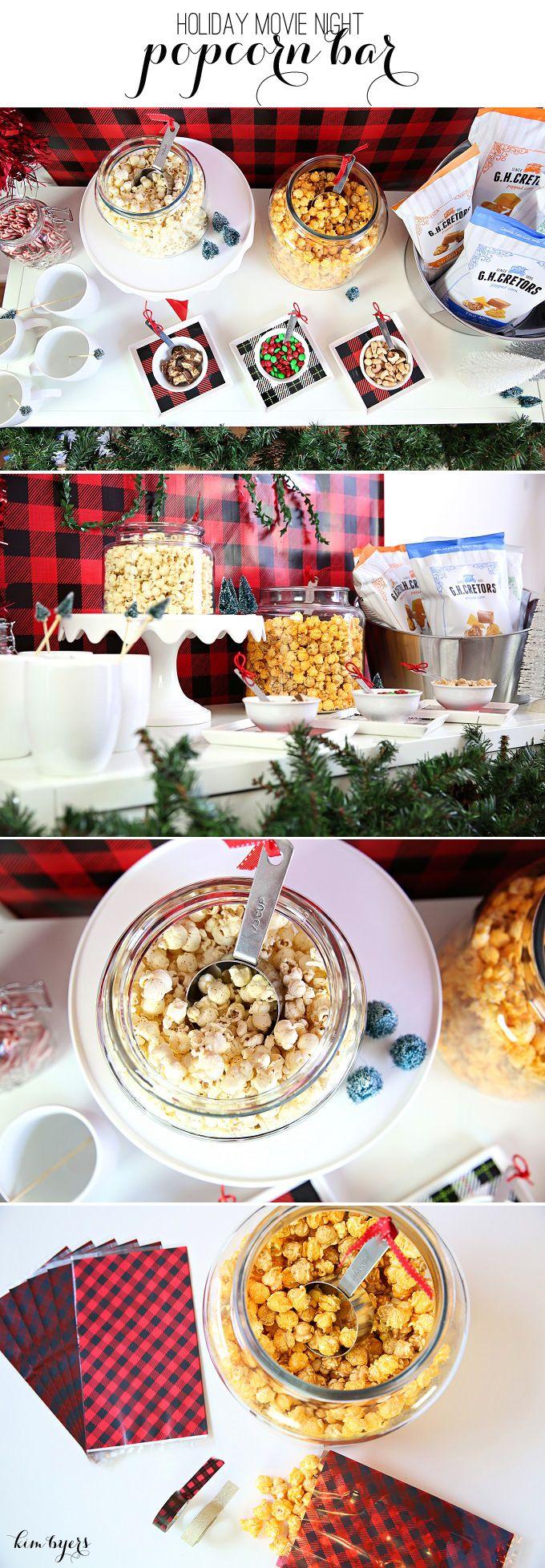 Holiday Movie Night Popcorn Bar in Plaid | Kim Byers TheCelebrationShoppe.com