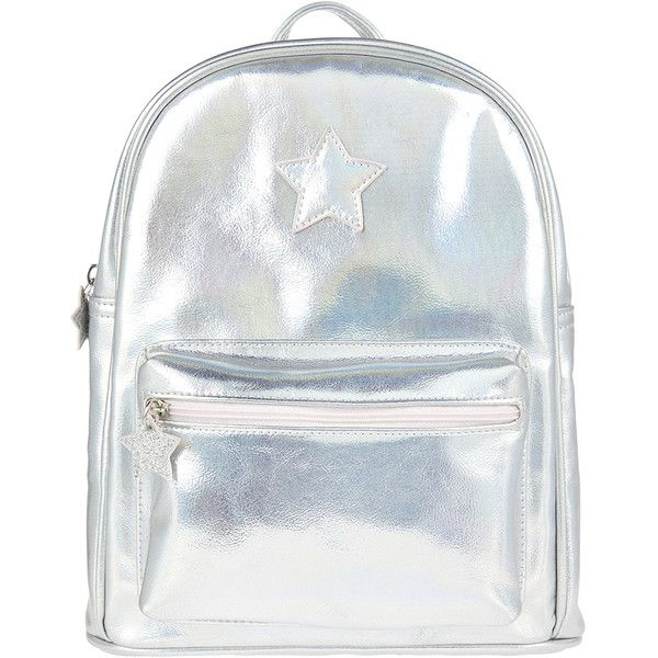 Accessorize Holographic Star Mini Backpack ($35) ❤ liked on Polyvore featuring bags, backpacks, mini bag, mini rucksack, holographic mini backpack, holographic backpack and zipper bag