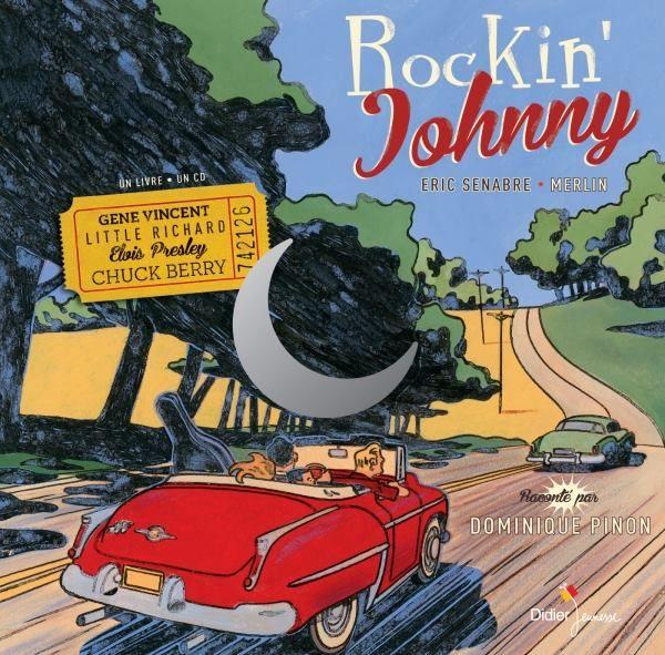 """CD JEUNESSE """"RocKin' Johnny"""" d'Eric Senabre / 1954, aux Etats-Unis, deux garçons du Tennessee font l'école buissonnière pour aller écouter un groupe de jeunes rockers. Le groupe décide de se rendre dans un studio de Memphis pour enregistrer leur premier disque. Les jeunes garçons fuguent pour participer à l'aventure…  Un récit très dynamique qui nous plonge dans les débuts du Rock'n'roll, illustré par les extraits musicaux des grands noms de l'époque."""
