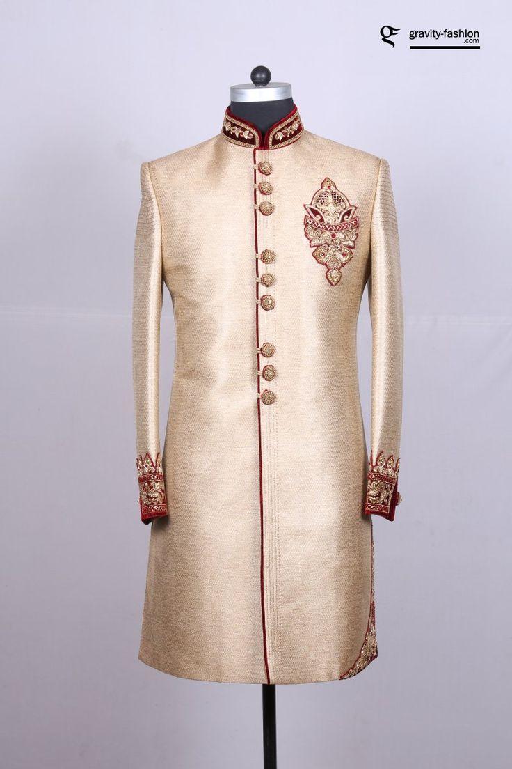 jute silk golden sherwani for men, shervani latest 2017 collection