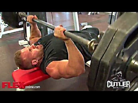 Jay Cutler Trains Chest and Triceps Safely For MASS - YouTube