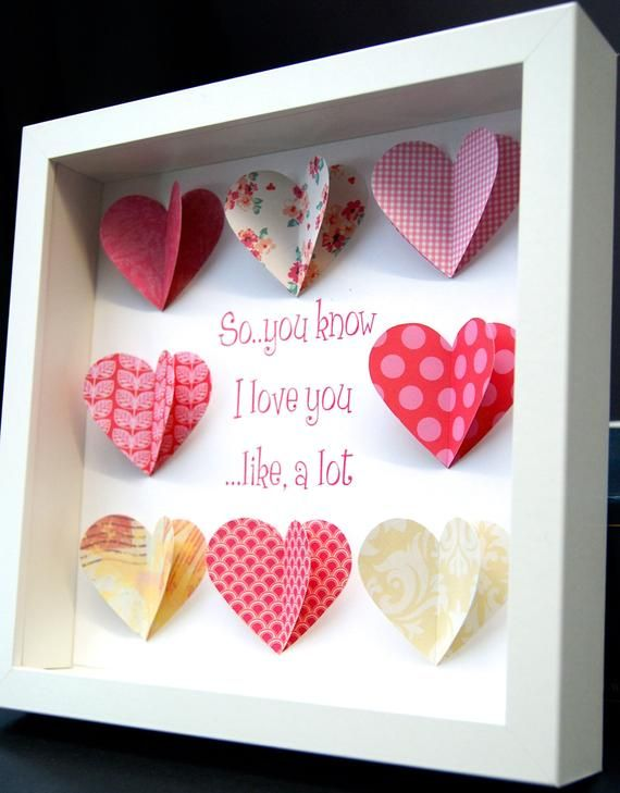 1st Wedding Anniversary Gift Framed Personalised Origami Paper Heart