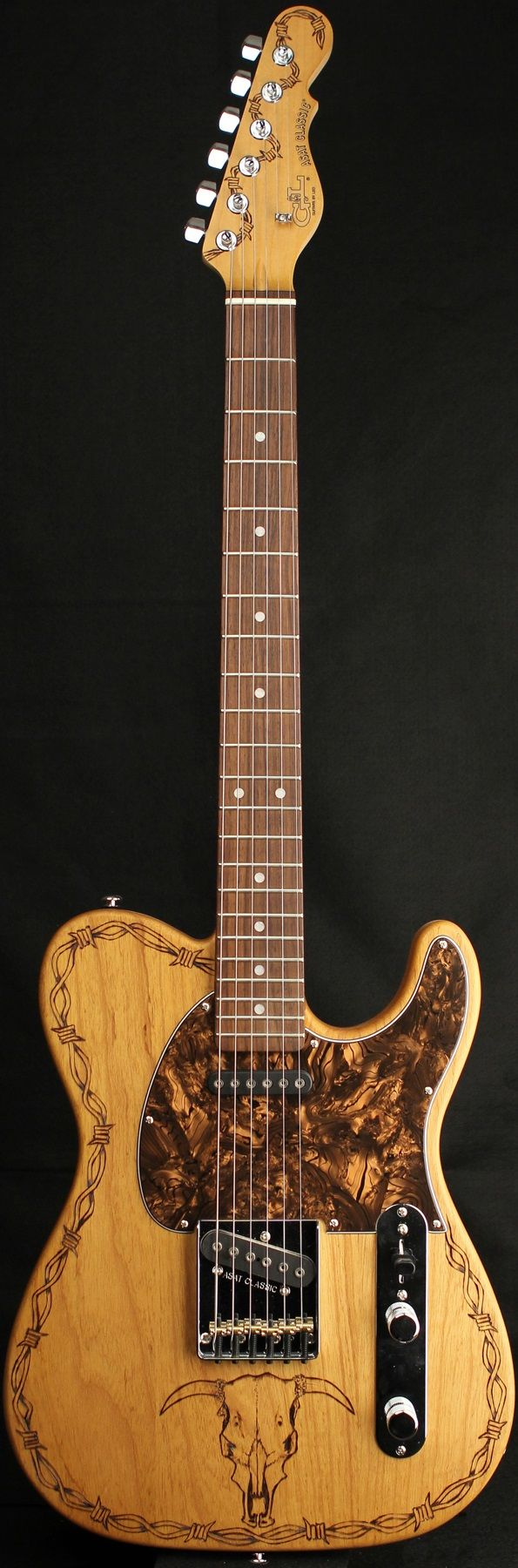 "G&L Guitars ASAT® Classic ""The Wrangler"", Custom engraved/branded Swamp Ash body, Hard Rock Maple neck with Rosewood Fingerboard. Custom artwork by Johnny Garcia"