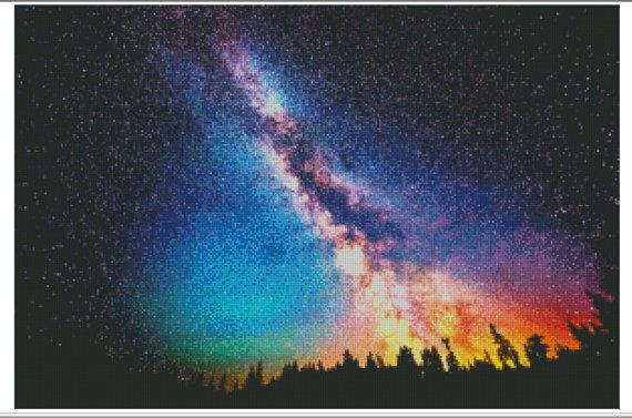 Galaxy Cross Stitch Pattern, Milky Way, Nighttime Forest, Printable Chart, Night Sky, Star, Nature, Galaxy Art, Nature, Landscape Embroidery