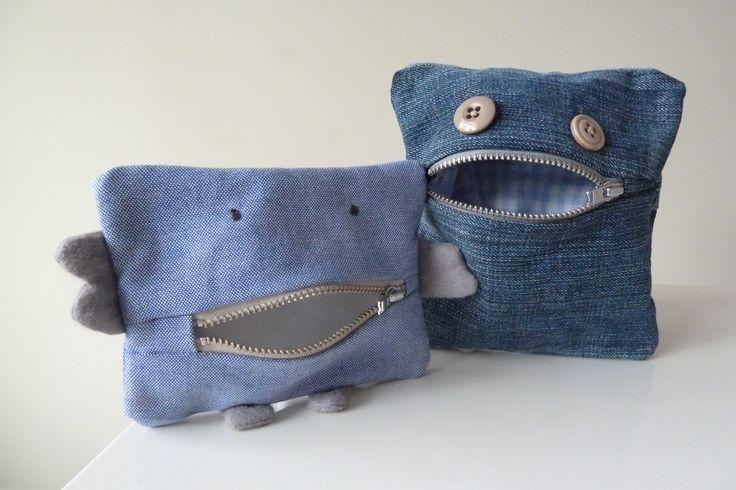 """Zelden wordt er gevochten om mijn naaisels. Nu wel.""""Sterk geinspireerd"""" door dit , maakte ikmonster-etui's voor mijn eigen monsters."""