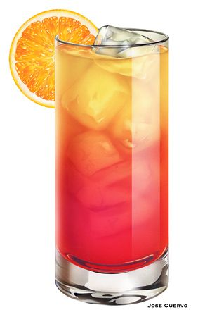 Tequila Sunrise    2 parts tequila  5 parts orange juice  1/2 part grenadine  1 orange slice and 1 maraschino cherry to garnish