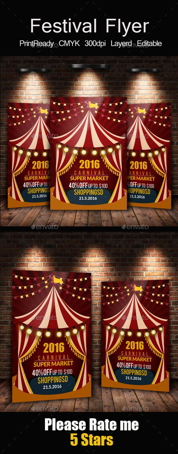 Circus & Carnival Psd Flyer Template - Events Flyers Download here: https://graphicriver.net/item/circus-carnival-psd-flyer-template/14355320?ref=alena994