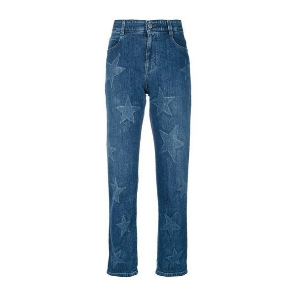 STELLA MC CARTNEY Star Boyfriend Jeans found on Polyvore featuring jeans, pants, bottoms, blue, mid rise boyfriend jeans, elastic-waist jeans, faded jeans, loose fitting jeans and cropped jeans