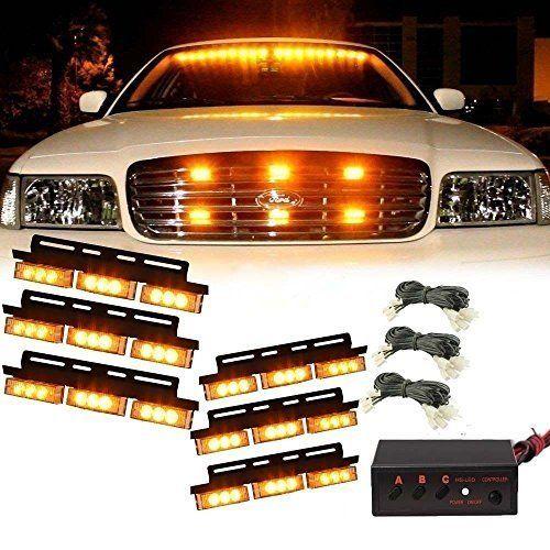 katur 54 led yellow vehicle strobe emergency led light car truck flash. Black Bedroom Furniture Sets. Home Design Ideas