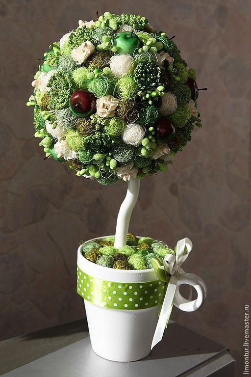 Купить Топиарий с фруктами - зеленый, топиарий дерево счастья, декор для интерьера, деревья, искусственное дерево