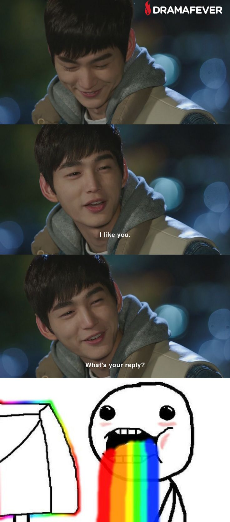 Lee Won Geun gets this reaction every. single. episode! If you want to barf some rainbows, definitely check out Cheer Up!