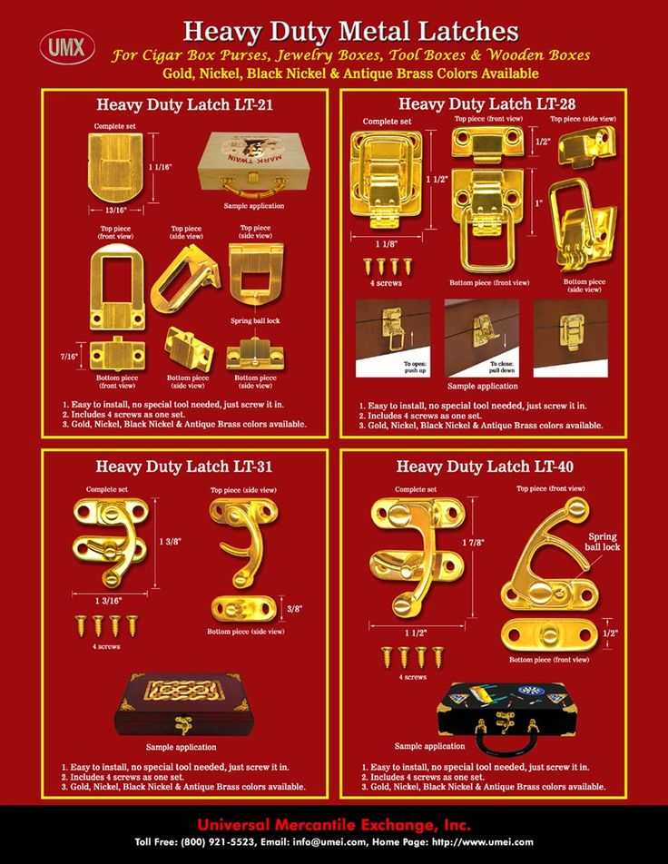 We make latch lock system for wood boxes, door, gate, cabinet, cigar box craft, jewerly box craft and cigar box purses latches.