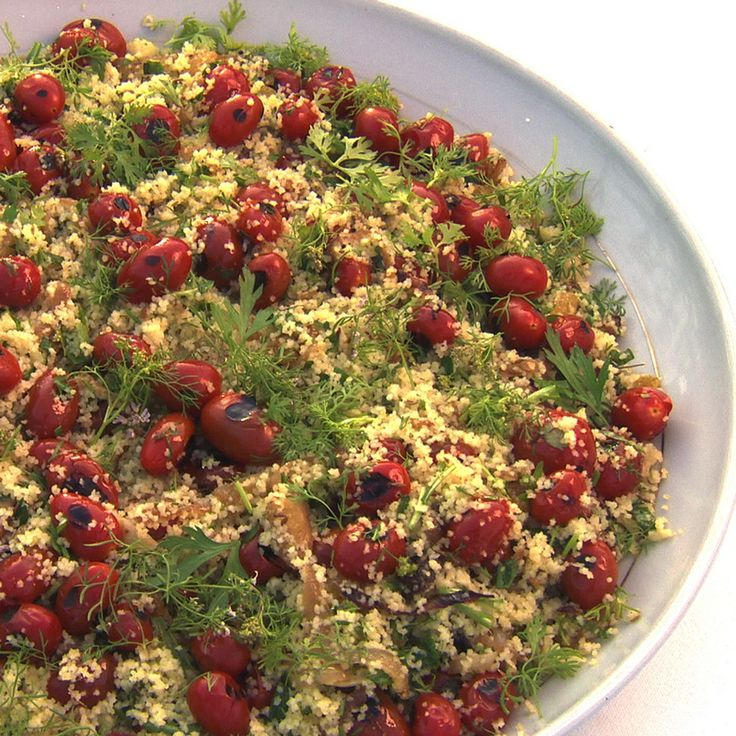 Couscous with grilled cherry tomatoes and fresh herbs - Ottolenghi (roast the farm tomatoes vs grilled cherry)