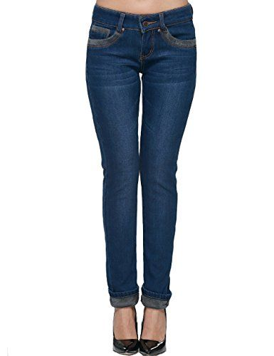 Camii Mia Womens Winter Slim Fit Thermal Jeans Pants 30 Blue * See this great product.