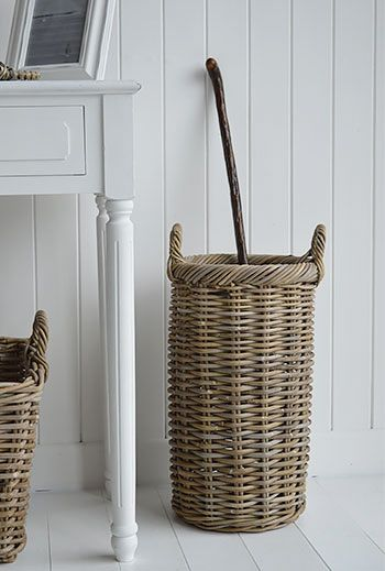 Basket grey umbrella stand for hallway storage. New England, Country, Nordic and French style furniture and decor for your home form The White Lighthouse