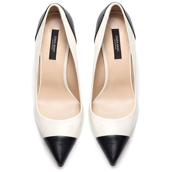 Zara two-tone black and white court shoes ❤ liked on Polyvore featuring shoes, pumps, heels, 2 tone shoes, black and white shoes, heel pump, two tone pumps and white and black shoes