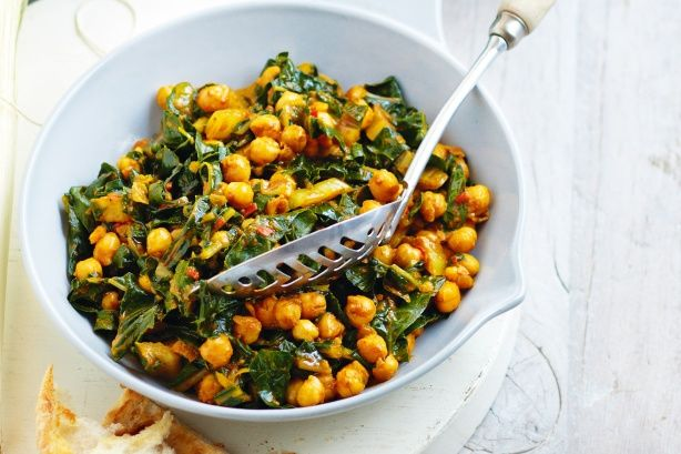 Cook silverbeet and chickpeas with chilli, garlic and rich tomato paste, and you get a side dish that shines!