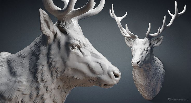 Deer stag head sculpture STL, OBJ files. 3d printing, CNC carving. For Jewelry design, interiour design, digital visualisation.