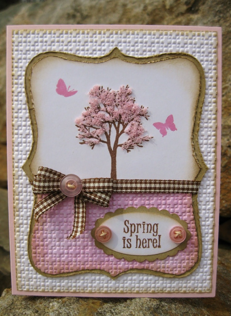 Sweet Pastel Spring Card...with tree & inked papers...Inkee Paws.