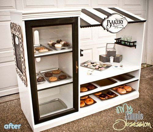 """The Bakery Maker OMG I wish I had little kids again! this """"bakery"""" is made from an old entertainment center. SFC! (so friggin' cute!)"""
