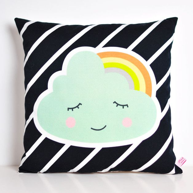 A sweet decorative throw pillow for your kids room or nursery made with a soft and strong cotton fabric. Perfect for a cute and modern nursery decor or kids room. This cloud with rainbow cushion...