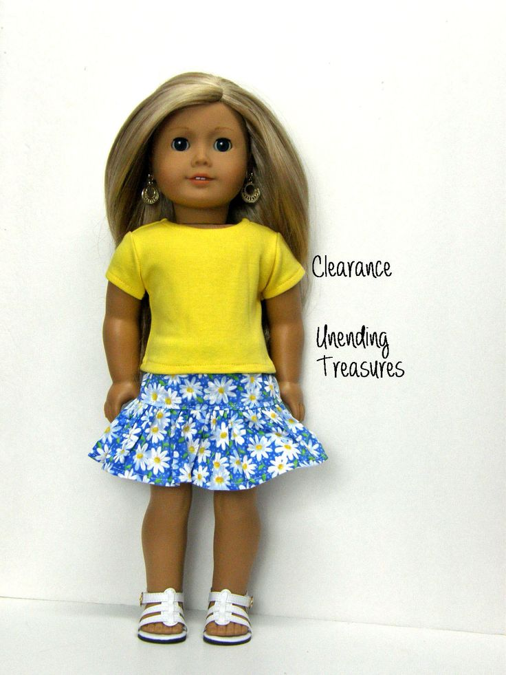 CLEARANCE 18 inch doll clothes AG doll clothes yellow short sleeve top and daisy print ruffle skirt by Unendingtreasures on Etsy