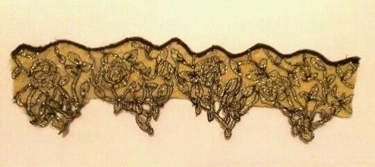 Trim 4 - Gold & Black thread machine sewn on, and dissolvable fabric