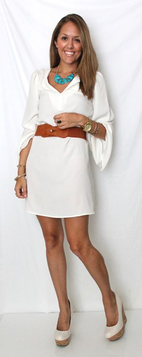 White dress with belt.  J's Everyday Fashion: Style Belts, Summer Dresses, Simple White Dresses, Cute White Dresses, Js Everyday Fashion, Hippie Style, Dresses Belts, The Dresses, Belts Dresses