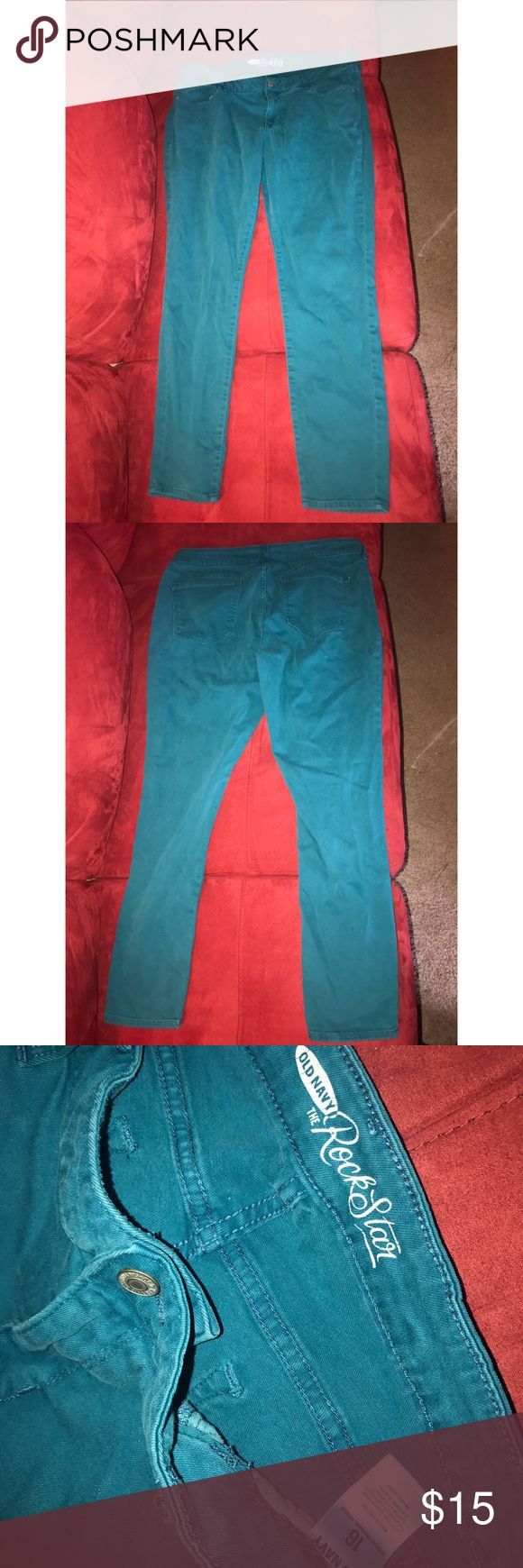 Teal Old Navy RockStar skinny jeans! 💙 Size 16. Only worn a few times. Smoke-free home. Perfect condition! Old Navy Jeans Skinny